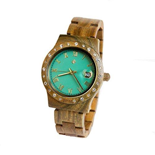 Aurora Holz Damen Armbanduhr Green Matt Sandelholz