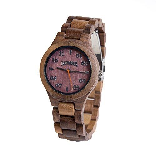T1M3 Walnuss Damen holz armbanduhr