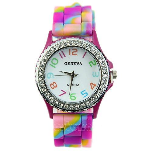 jeweltime Damen Geneva Armbanduhr Regenbogenfarbenes Band Kristall Strassbesatz Silikon Gliederband