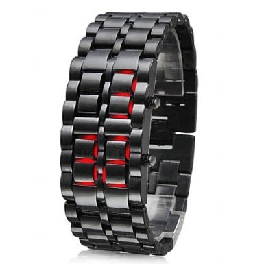 Moderne Red LED Digital Faceless Lava Samurai schwarz S Metall Stahl Armband Handgelenk