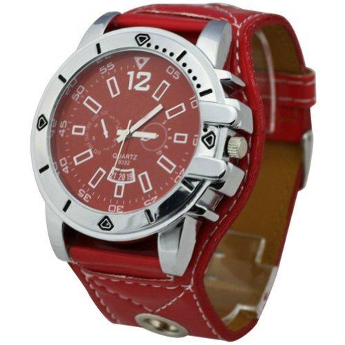 hacbiwa 2013 Classic Herren Frauen Rot letheroid Handgelenk Uhren Big Zifferblatt Uhren