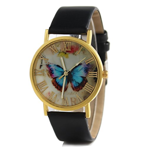 hacbiwa Unisex Lady Colorful Schmetterling Muster Rund Armbanduhr Schwarz