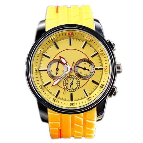 hacbiwa Sports Herren Frauen 3 eye gelb Quarz Silikon Handgelenk Uhren