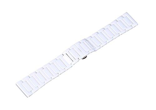 rechere 22 mm Keramik Armband Uhrenarmband Faltschliesse Farbe Weiss