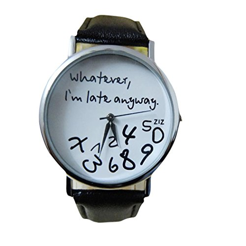 Longra Heisse Frauen Leder Uhr Whatever I am Late Anyway Brief Uhrschwarzweiss Schwarz