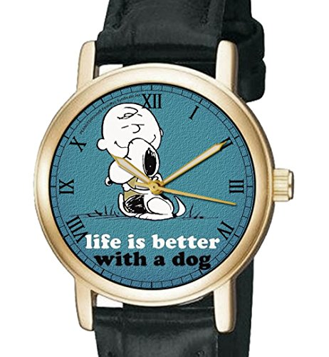 Life is better with a Dog Gorgeous blau Charlie Brown Snoopy Peanuts Unisex colelctible Armbanduhr
