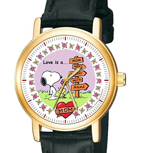 Love Is A Mutter Lovely Vintage Blumenmuster Art Snoopy Peanuts Mutter s Day Geschenk Armbanduhr