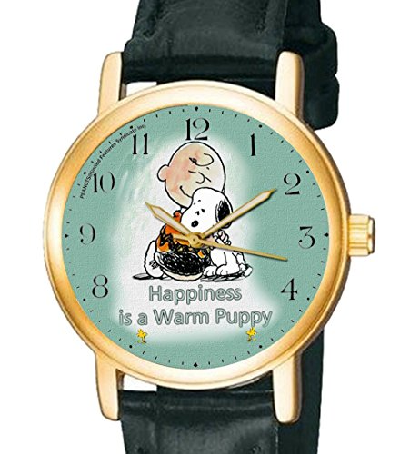 Glueck ist eine warme Welpen Vintage Charlie Brown Snoopy Peanuts Art Armbanduhr