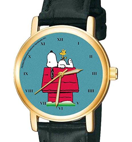 Snoopy auf seinem Zwinger schoen teal blau symbolisch Existenzialist Unisex Peanuts Armbanduhr