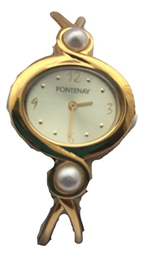 Fontenay Damen Analog Quarz 18 KT Vergoldete Armbanduhr mit 2 echten Perlen