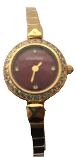 Fontenay Damen burgund Stein Zifferblatt 18 kt vergoldet Armband Armbanduhr