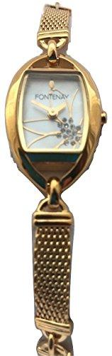 Fontenay Frauen analoge Quarz 18 Karat Gold ueberzog Blumen Stein Perlmutt Uhr