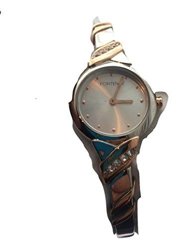 Fontenay Sammler Artikel Damen Zwei Tone 18 kt vergoldet Stein Analog Quarz Armreif Armbanduhr