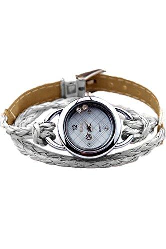 IEKE Armband Charme Quarz Dame Geflochtener Buegel Diamant Armbanduhr silbergrau