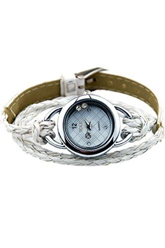 IEKE Armband Charme Quarz Dame Geflochtener Buegel Diamant Armbanduhr weiss