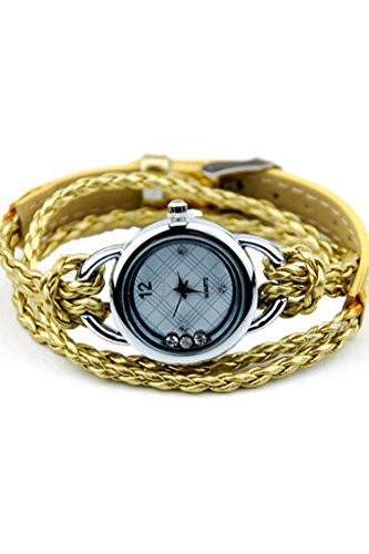 IEKE Armband Charme Quarz Dame Geflochtener Buegel Diamant Armbanduhr Golden