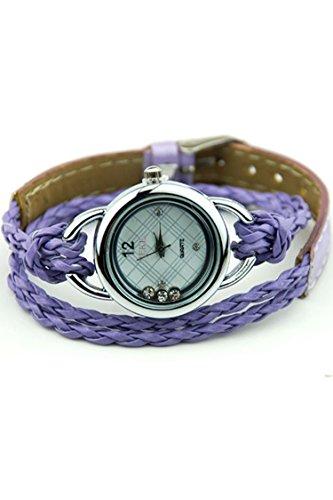 IEKE Armband Charme Quarz Dame Geflochtener Buegel Diamant Armbanduhr Lila