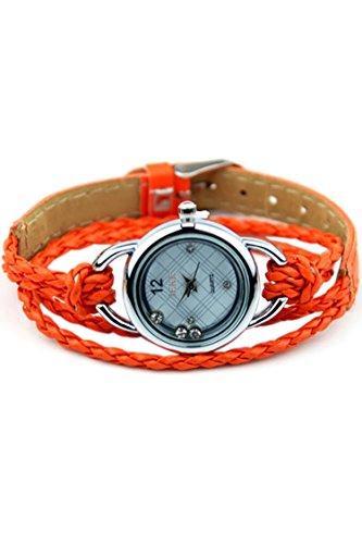 IEKE Armband Charme Quarz Dame Geflochtener Buegel Diamant Armbanduhr Orange
