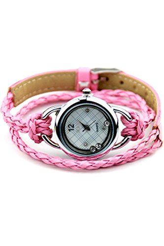 IEKE Armband Charme Quarz Dame Geflochtener Buegel Diamant Armbanduhr Rosa