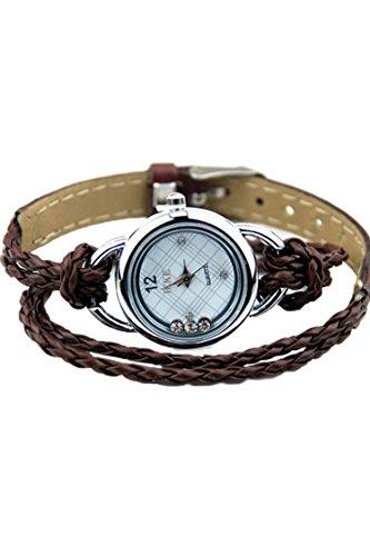 IEKE Armband Charme Quarz Dame Geflochtener Buegel Diamant Armbanduhr Braun