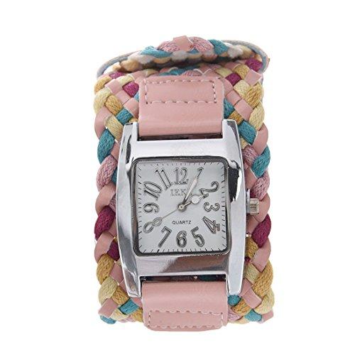 IEKE Dame Maedchen Geflochtenes Seil Armbanduhr Koreanische Breitseite Rosa