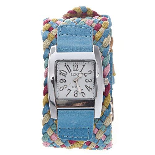 IEKE Dame Maedchen Geflochtenes Seil Armbanduhr Koreanische Breitseite Blau