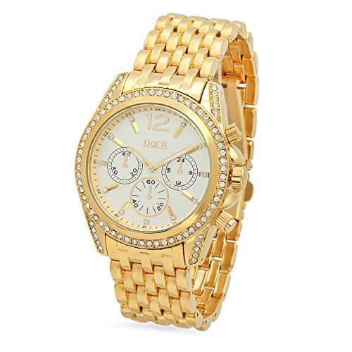 Mens Gold Plated IEKE CZ Bezel White Dial Watch w Trapezoidal Band