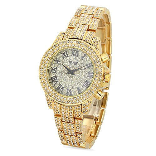 Mens Gold Plated Roman Silver Dial IEKE Watch Iced Out w Cubic Zirconia
