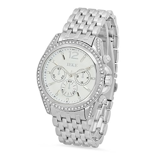 Mens Rhodium Plated White Dial IEKE CZ Bezel Watch w Trapezoidal Band
