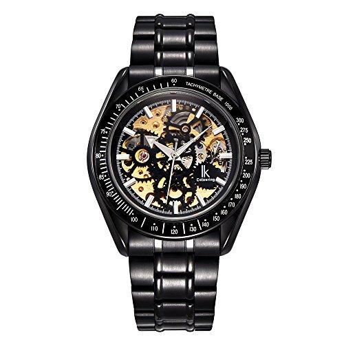 Ik Faerbung 2016 Kleid Schwarz Stahl automatische mechanische Armbanduhr fuer Herren Luminous