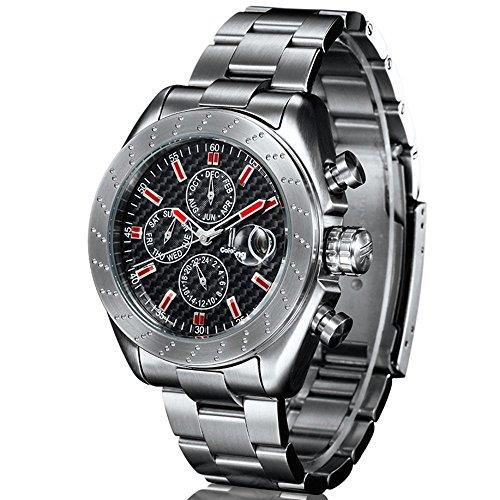 Gute alle Stahl Casual Sport Herren Carbon Mechanische Armbanduhr Automatik rot Hand Saphir