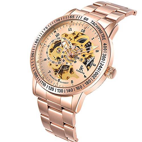 Gute Elegante Steampunk alle Rose Gold automatische mechanische Armbanduhr Stahl Unisex