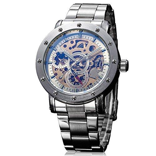 Ik Faerbung Skelett Silber Golden Face Mechanische Armbanduhr Stahl Armband Steampunk