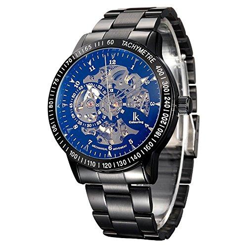 Gute IK Steampunk schwarz Stahl automatische mechanische Armbanduhr beschichtet Glas Kristallsteinen Movt
