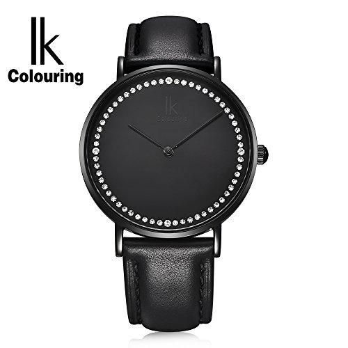 Gute IK minimalistischen Design Diamanten Kohle Schwarz Damen Armbanduhr 7 3 mm duenn 3 ATM