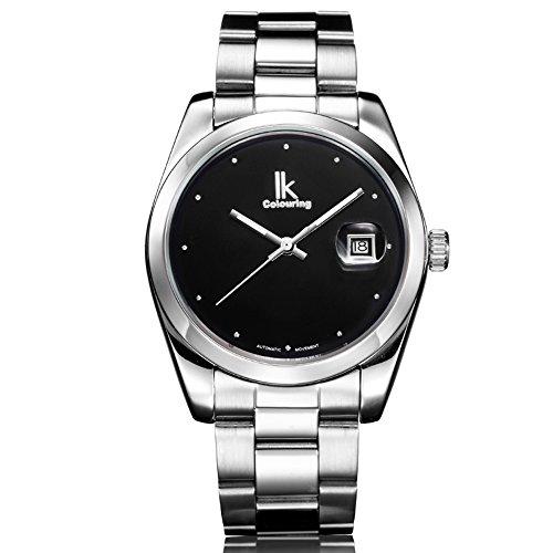 Ik Faerbung minimalistischen Designs Silber Schwarz Man s Automatische Mechanische Armbanduhr Datum Luminous