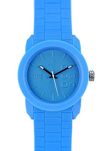 Einzigartige HOT SUN BLUE TIME Herz Armbanduhr in Blau mit Silikonarmband