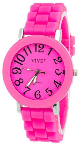 Einzigartige HOT SUN SUMMER TIME Edelstahl Armbanduhr in Grellen Pink Rosa mit Silikonarmband Color Edition Sommer Farben