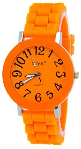 Einzigartige HOT SUN SUMMER TIME Edelstahl Armbanduhr in Grellen Orang Orange mit Silikonarmband Color Edition Sommer Farben