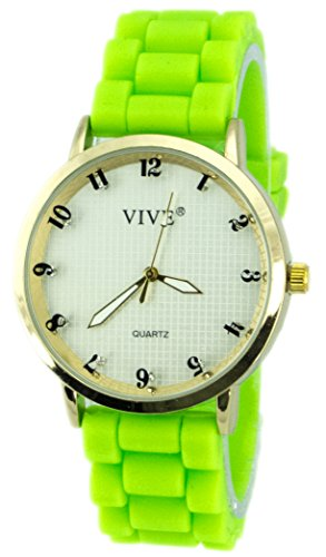 Einzigartige HOT SUN SUMMER TIME Edelstahl Armbanduhr in Grell Gruen Gift Gruen Green mit Silikonarmband Color Edition Sommer Farben mit Strass Steinen