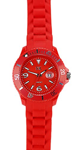 Einzigartige HOT SUN RED Silikon Armbanduhr in Rot mit Silikonarmband Color Edition
