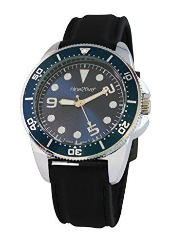 nine2five aatt07ngaz Herren s Schwarz Silikon Band Authentic Blue Dial Armbanduhr