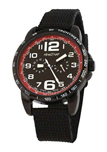 nine2five abld07ngng Herren Analog Bold schwarz Nylon Band Schwarz Zifferblatt Armbanduhr