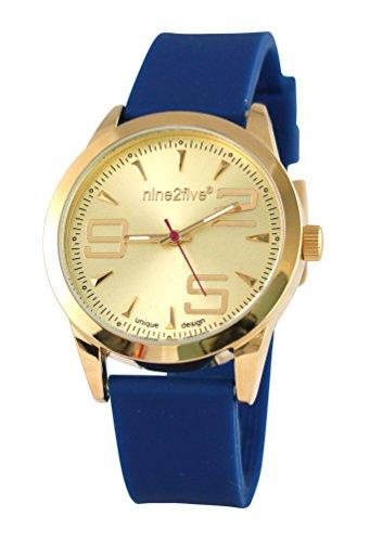 nine2five aevy07azgl Damen Envy blau Silikon Band Gold Zifferblatt Armbanduhr