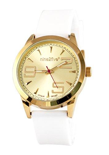 nine2five aevy07blgl Damen Envy weiss Silikon Band Gold Zifferblatt Armbanduhr