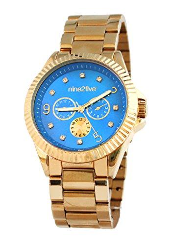 nine2five afcy07glaz Damen Edelstahl Gold Armband Band Blau Zifferblatt Armbanduhr