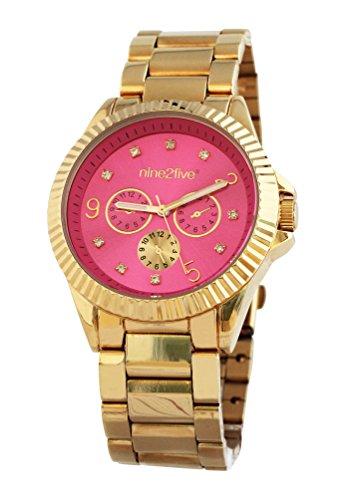 nine2five afcy07glrs Damen Edelstahl Gold Armband Band Rosa Zifferblatt Uhr