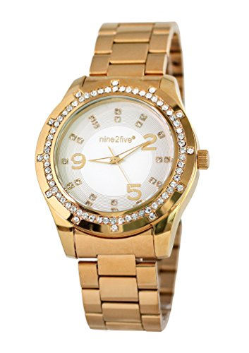 nine2five alst07glbl Damen Lust Gold Armband Band weiss Zifferblatt Uhr