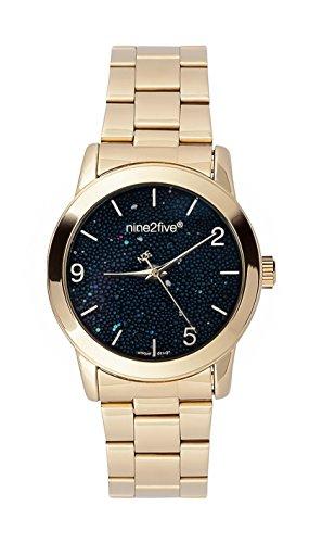 nine2five Damen apry08glng Pearly schwarz gold rund Analog Fashion Armbanduhr