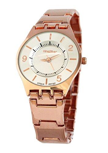 nine2five asfh07rgsl Damen Edelstahl Rose Gold Armband Band weiss Zifferblatt Uhr